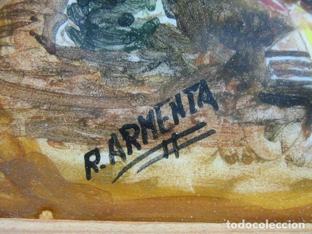 Varios objetos de Arte: Cuadro en azulejo pintado. Asociación amigos de Ecija 1985.M 32x22,5 cm. Firmado R. Armenta - Foto 4 - 67608177