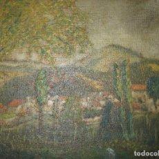 Varios objetos de Arte: PINTURA ANTIGUA ANTIGUO OLEO FIRMA SIN IDENTIFICAR PAISAJE PUEBLO. Lote 67920777
