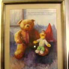 Varios objetos de Arte: MARAVILLOSA PINTURA AL PASTEL INFANTIL .FIRMADO(ENORME). Lote 68046937
