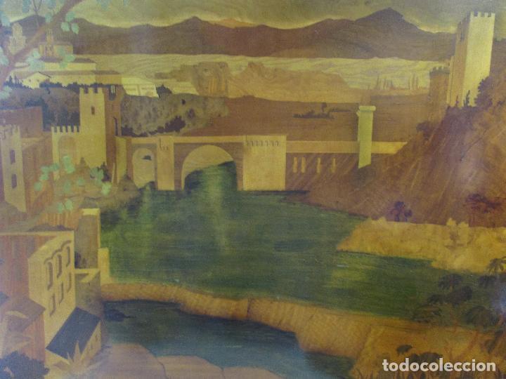 ESPECTACULAR PANEL - PLAFÓN - MARQUETERÍA - DIFERENTES MADERAS Y RAÍCES -PAISAJE -CASTILLO, PUENTE (Arte - Varios Objetos de Arte)