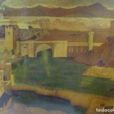 Varios objetos de Arte: ESPECTACULAR PANEL - PLAFÓN - MARQUETERÍA - DIFERENTES MADERAS Y RAÍCES -PAISAJE -CASTILLO, PUENTE. Lote 68232597