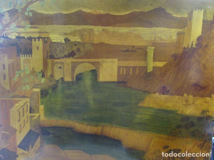 Varios objetos de Arte: Espectacular Panel - Plafón - Marquetería - Diferentes Maderas y Raíces -Paisaje -Castillo, Puente - Foto 2 - 68232597