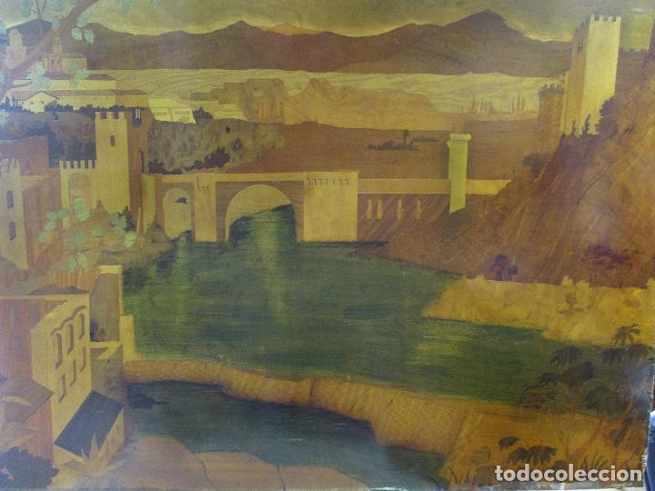 Varios objetos de Arte: Espectacular Panel - Plafón - Marquetería - Diferentes Maderas y Raíces -Paisaje -Castillo, Puente - Foto 3 - 68232597