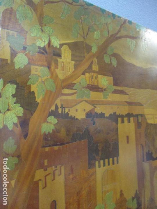 Varios objetos de Arte: Espectacular Panel - Plafón - Marquetería - Diferentes Maderas y Raíces -Paisaje -Castillo, Puente - Foto 7 - 68232597