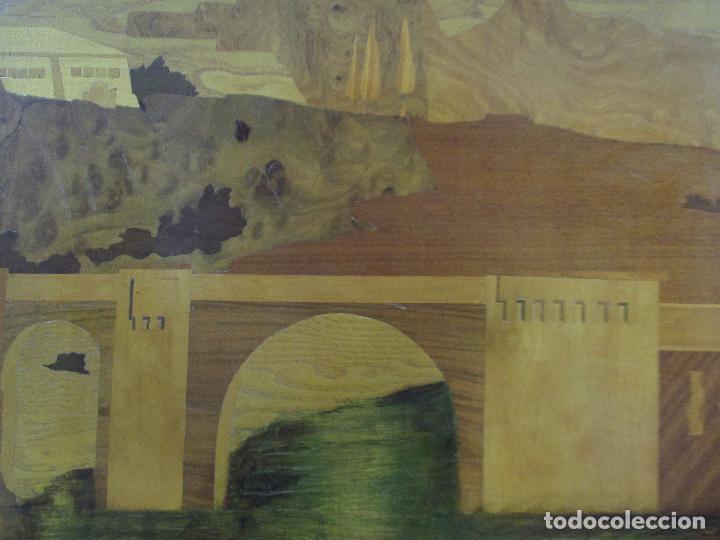 Varios objetos de Arte: Espectacular Panel - Plafón - Marquetería - Diferentes Maderas y Raíces -Paisaje -Castillo, Puente - Foto 11 - 68232597