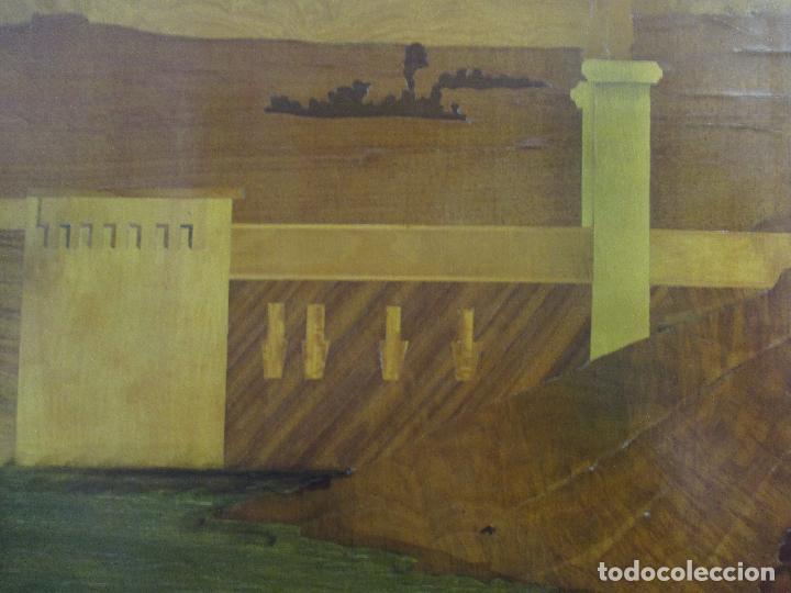 Varios objetos de Arte: Espectacular Panel - Plafón - Marquetería - Diferentes Maderas y Raíces -Paisaje -Castillo, Puente - Foto 14 - 68232597