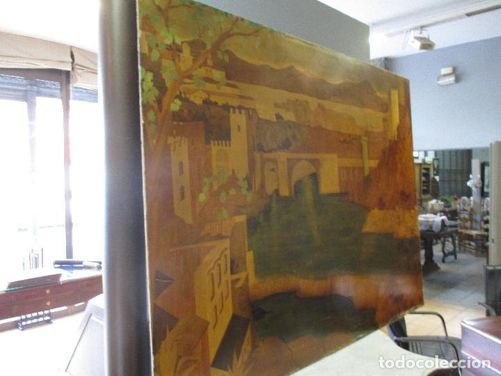 Varios objetos de Arte: Espectacular Panel - Plafón - Marquetería - Diferentes Maderas y Raíces -Paisaje -Castillo, Puente - Foto 25 - 68232597