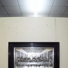 Varios objetos de Arte: CUADRO ÚLTIMA CENA DE LATÓN PLATEADO MUY REPUJADO. Lote 68498629