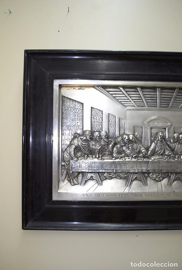 Varios objetos de Arte: CUADRO ÚLTIMA CENA DE LATÓN PLATEADO MUY REPUJADO - Foto 2 - 68498629