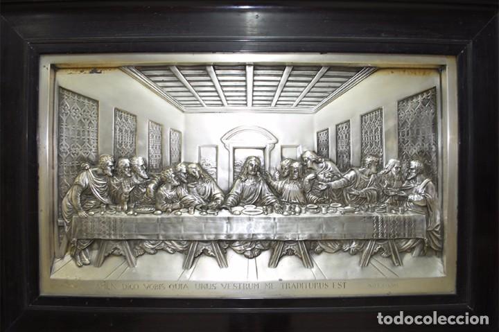 Varios objetos de Arte: CUADRO ÚLTIMA CENA DE LATÓN PLATEADO MUY REPUJADO - Foto 3 - 68498629