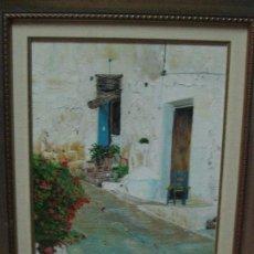 Varios objetos de Arte: ANTIUO CUADRO PINTURA ANTIGUA OLEO FIRMA A. MOYA CALLE ALICANTE ? CASCO ANTIGUO MARCO DORADO. Lote 70434233