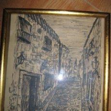 Varios objetos de Arte: CUADRO ANTIGUO PAISAJE URBANO DIBUJO TINTA. Lote 70910317