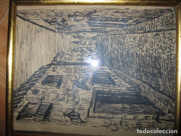 Varios objetos de Arte: CUADRO ANTIGUO PAISAJE URBANO DIBUJO TINTA - Foto 2 - 70910317