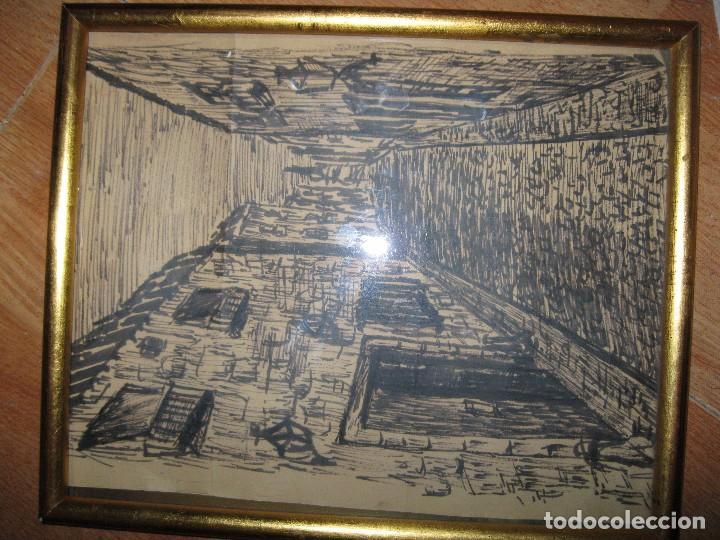 Varios objetos de Arte: CUADRO ANTIGUO PAISAJE URBANO DIBUJO TINTA - Foto 3 - 70910317