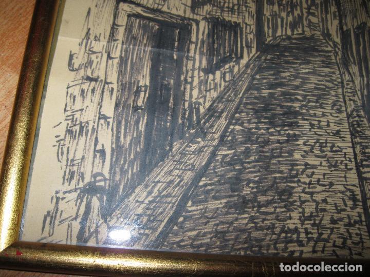 Varios objetos de Arte: CUADRO ANTIGUO PAISAJE URBANO DIBUJO TINTA - Foto 4 - 70910317