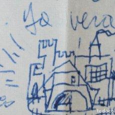 Varios objetos de Arte: RAFAEL REYES TORRENT PEQUEÑO DIBUJO EN CARTA DE CASTILLO CASA TIENDA 1954. Lote 49481164