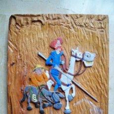 Varios objetos de Arte: TABLA DE MADERA LABRADA A MANO - DON QUIJOTE Y SANCHO PANZA - PINTADOS CON ACUARELA - 26X20X1,5. Lote 71706387