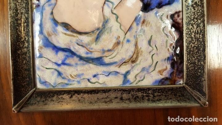 Varios objetos de Arte: MUJER DELGADA. ESMALTE SOBRE METAL. MARCO DE PLATA. REPRODUCCION DE TOLOUS LAUTREC. SIGLO XX. - Foto 4 - 72844811