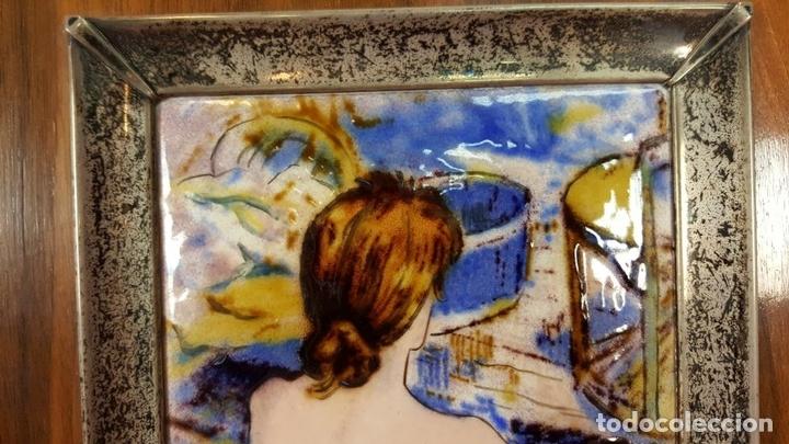 Varios objetos de Arte: MUJER DELGADA. ESMALTE SOBRE METAL. MARCO DE PLATA. REPRODUCCION DE TOLOUS LAUTREC. SIGLO XX. - Foto 5 - 72844811