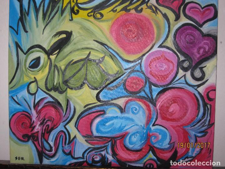 ANTIGUA PINTURA OLEO EN LIENZO SOBRE LIENZO FIRMA SER 62 X 50 ABSTRACTO POSIBLE PINTOR DE ALICANTE (Arte - Varios Objetos de Arte)