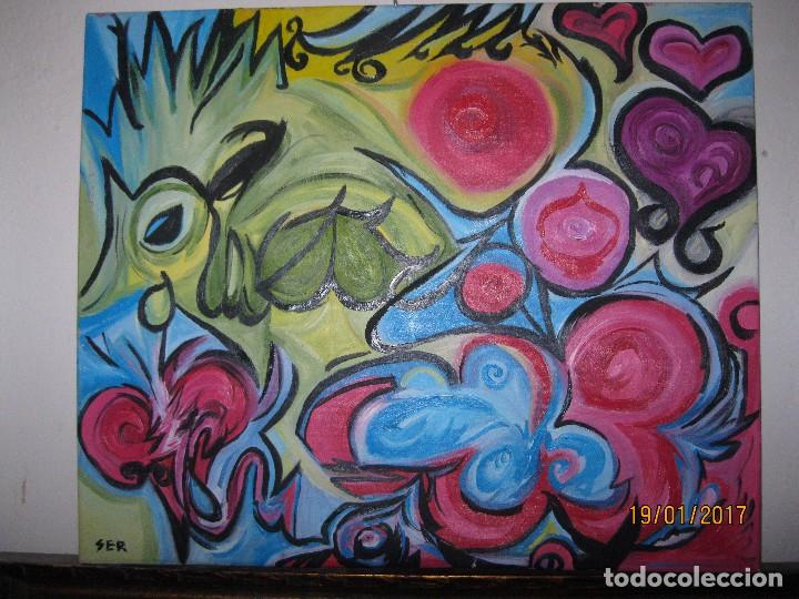 Varios objetos de Arte: ANTIGUA PINTURA OLEO EN LIENZO SOBRE LIENZO FIRMA SER 62 X 50 ABSTRACTO POSIBLE PINTOR DE ALICANTE - Foto 3 - 73048227