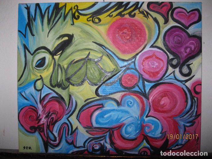 Varios objetos de Arte: ANTIGUA PINTURA OLEO EN LIENZO SOBRE LIENZO FIRMA SER 62 X 50 ABSTRACTO POSIBLE PINTOR DE ALICANTE - Foto 4 - 73048227