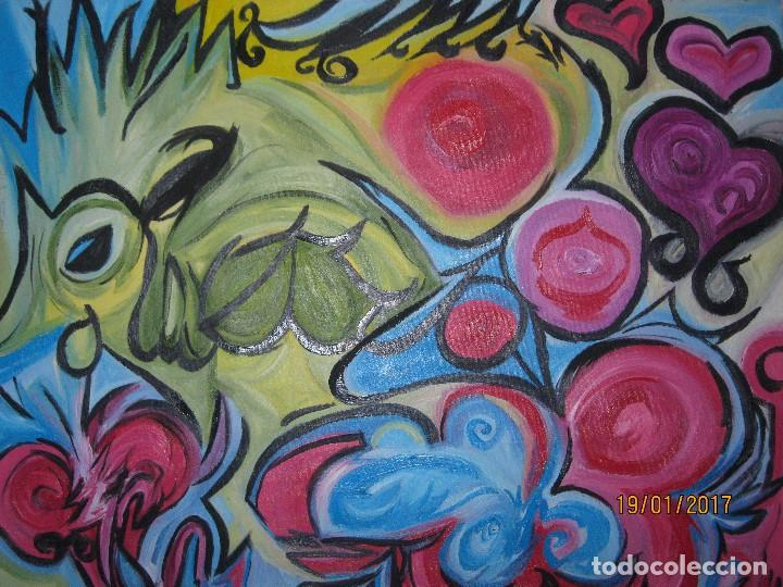 Varios objetos de Arte: ANTIGUA PINTURA OLEO EN LIENZO SOBRE LIENZO FIRMA SER 62 X 50 ABSTRACTO POSIBLE PINTOR DE ALICANTE - Foto 5 - 73048227