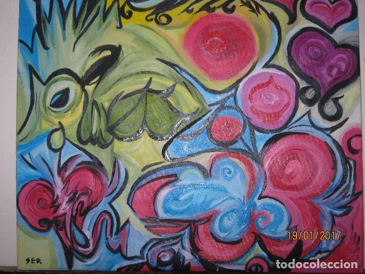 Varios objetos de Arte: ANTIGUA PINTURA OLEO EN LIENZO SOBRE LIENZO FIRMA SER 62 X 50 ABSTRACTO POSIBLE PINTOR DE ALICANTE - Foto 6 - 73048227