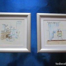 Varios objetos de Arte: LOTE 2 PEQUEÑOS CUADROS-DISEÑO BAÑOS-ORIGINALES-VER FOTOS.. Lote 73064435