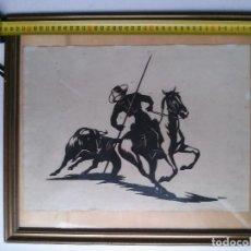 Varios objetos de Arte: ANTIGUA SILUETA RECORTADA DE REJONEADOR Y CABALLO. Lote 73396047