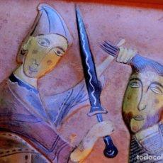 Varios objetos de Arte: RARO CUADRO DE CUERO REPUJADO Y POLICROMADO - FIRMA DEL ARTISTA - ESTÉTICA MEDIEVAL - RELIEVE - ARTE. Lote 73586419