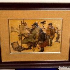 Varios objetos de Arte: PINTURA SOBRE CUERO REPUJADO. FIRMADO. ANTON DECK. ENVIO CERTIFICADO.INCLUIDO.. Lote 73668971
