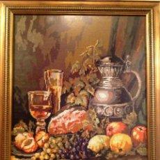 Varios objetos de Arte: CUADRO BORDADO PUNTO DE CRUZ BODEGÓN MEDIDAS 79 X 64. Lote 73789279