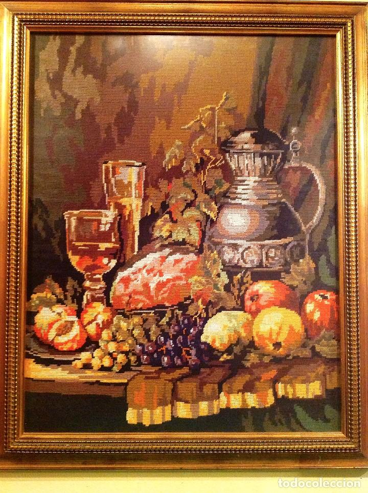 Varios objetos de Arte: Cuadro Bordado Punto De Cruz Bodegón Medidas 79 x 64 - Foto 2 - 73789279