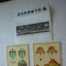 Varios objetos de Arte: LOTE 2 LÁMINAS DE GLOBOS AEROSTÀTICOS EN SU SOBRE ORIGINAL - OBSEQUIO GLOBUCE . Lote 76679307