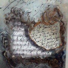 Varios objetos de Arte: INTERESANTE COMPOSICIÓN ARTÍSTICA SOBRE TABLA. TECNICA MIXTA, TEMÁTICA MÚSICA. 29X35(SIN MARCO). Lote 76691803