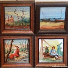 Varios objetos de Arte: J.M. TOS, LOTE DE 4 PINTURAS SOBRE CERÁMICA DEL PRESTIGIOSO MAESTRO ARTESANO. 20X20CM. Lote 77520097
