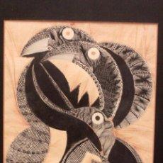 Varios objetos de Arte: INTERESANTE TECNICA MIXTA SOBRE PAPEL. OBRA ORIGINAL. FIRMADA TON. 43X51CM. Lote 79022861
