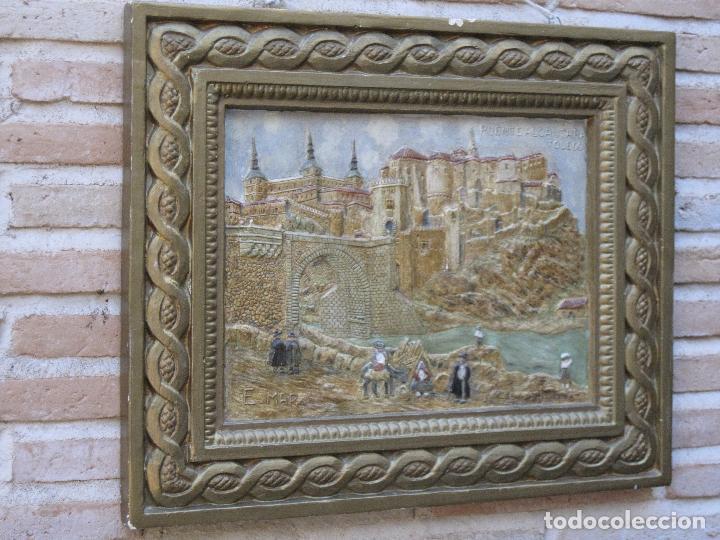 Varios objetos de Arte: CUADRO ANTIGUO DE TOLEDO REALIZADO EN ESTUCO. PIEZA UNICA. - Foto 2 - 79925985
