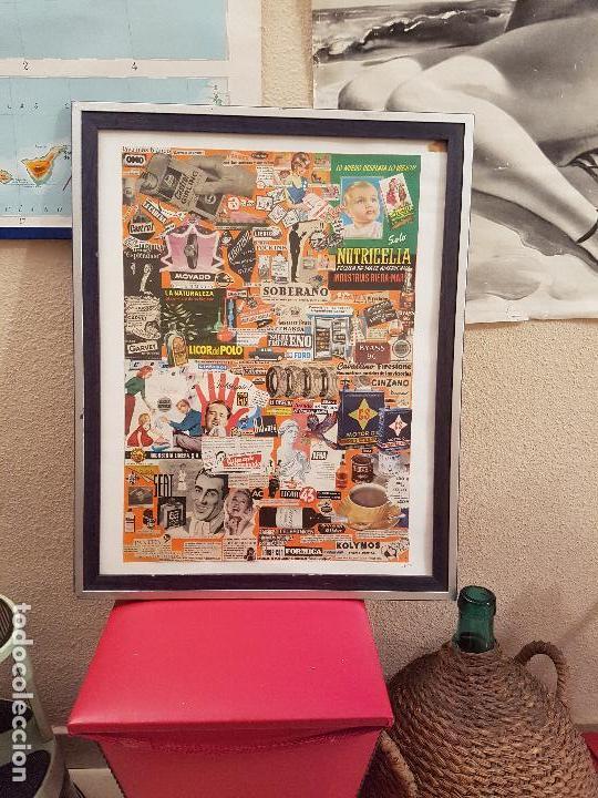 COLLAGE CON PUBLICIDAD ANTIGUA ORIGINAL AÑOS 60-70 CARTEL CUADRO DECORACION PUBLICITARIO MARCAS (Arte - Varios Objetos de Arte)