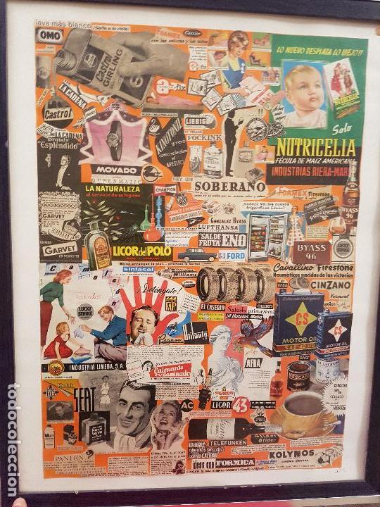 varios objetos de arte collage con publicidad antigua original aos cartel cuadro