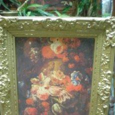 Varios objetos de Arte: LÁMINA FLORES CON MARCO DORADO . Lote 80093377