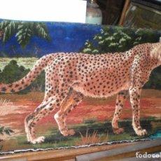 Varios objetos de Arte: TAPIZ, LEOPARDO 97X47CM. Lote 80183993