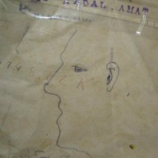 Varios objetos de Arte: RARO ANTIGUO DIBUJO RETRATO SELLO LIBRERIA ALICANTE C MAYOR. Lote 62284536