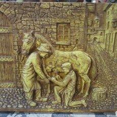 Varios objetos de Arte: CUADRO EN RELIEVE, CAMBIANDO HERRAJE AL CABALLO. 44X33.50CM. Lote 80863907