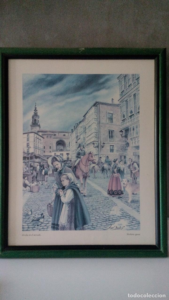 Varios objetos de Arte: CUADROS DE LÁMINAS DE VITORIA GASTEIZ DIVERSAS ESCENAS VER FOTOS - Foto 2 - 269017239