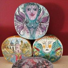 Varios objetos de Arte: LOTE DE 4 ORIGNALES CAJAS CARTON PINTADAS A MANO Y FIRMADAS. Lote 81755604