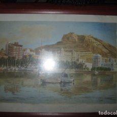 Varios objetos de Arte: ANTIGUA SERIGRAFIA DE PINTOR PETEN ALICANTE PUERTO Y CASTILLO. Lote 82149068