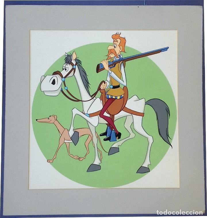 D. ALONSO Y SU GALGO ROCINANTE- ORIGINAL SERIE DE DIBUJOS ANIMADOS DON QUIJOTE DE LA MANCHA (1979) (Arte - Varios Objetos de Arte)