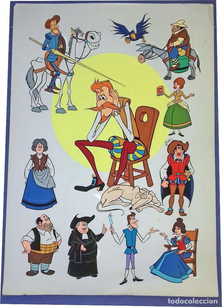 PERSONAJES DE LA SERIE DE DIBUJOS ANIMADOS DON QUIJOTE DE LA MANCHA (1979) - TÉMPERA (Arte - Varios Objetos de Arte)